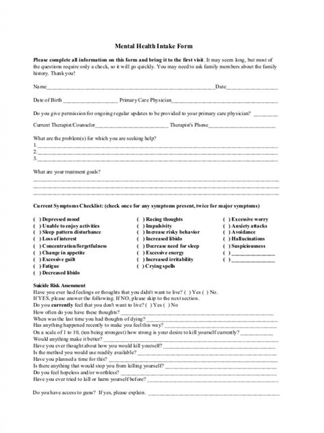 Assessment Intake Form 11 Free Documents In Word Pdf Psychiatric Intake Form Template