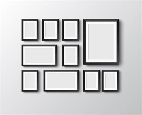 Black photo frame on wall vector graphic 03   Vector
