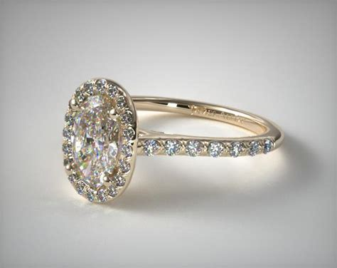 pave halo engagement ring oval center 14k