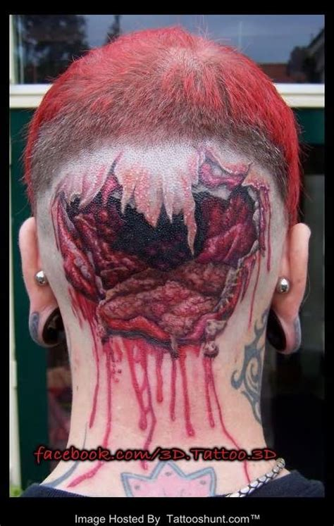 3d tattoo of mouth on head rip skin 3d pencil tattoo on head back head rip skin 3d