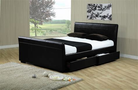 Faux Leather Bed With Drawers by Time Living Houston 5ft Kingsize Black Faux Leather Bed
