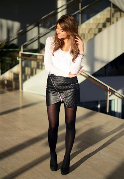 Skirt Lancip Black skirt black leather skirt blouse high heels bracelets