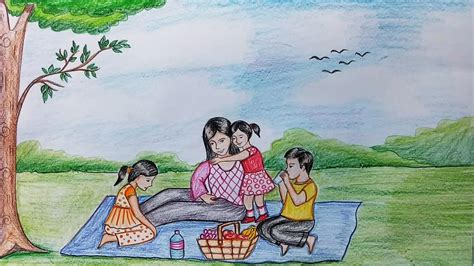 draw scenery  family picnic step  step youtube