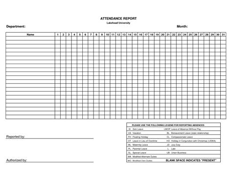 10 best images of printable blank attendance sheet
