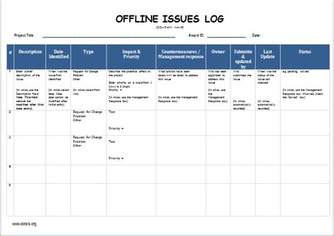 Offline Issues Log Template Word Excel Templates Issue Log Template