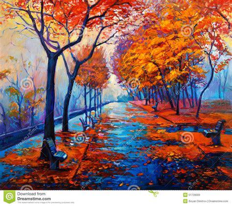 Original Painting On Canvasautumn Landscapemodern Autumn Landscape Stock Illustration Image Of Canvas