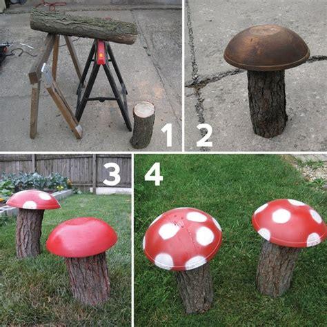 Garden Ornament Ideas Diy Garden Decoration Ideas Things Mushrooms Wood Logs Diy Projects Crafts Pinterest