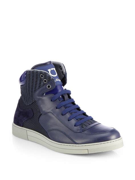 ferragamo sneakers mens ferragamo robert hightop sneakers in blue for lyst