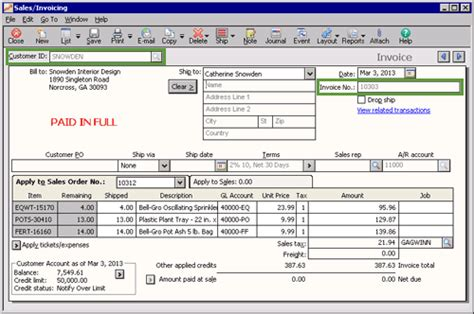 sle invoice paid in full sage 50 learning editing a transaction