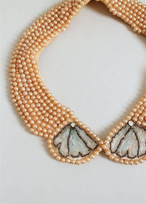 beaded collars vintage 1950s pearl beaded sweater collar raleigh vintage