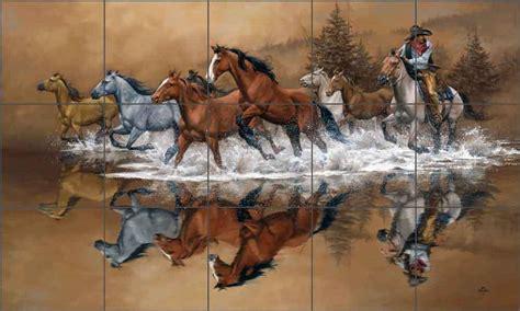 Mural Tiles For Kitchen Backsplash ceramic tile mural backsplash sorenson western horse art