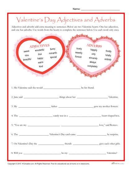 valentine s day worksheet adjectives and adverbs