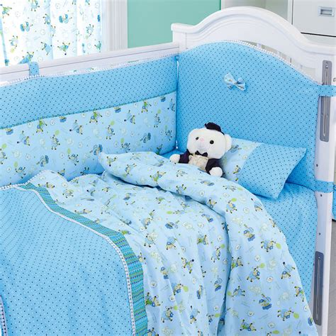 8 pieces set blue sheep baby bedding set baby nursery cot