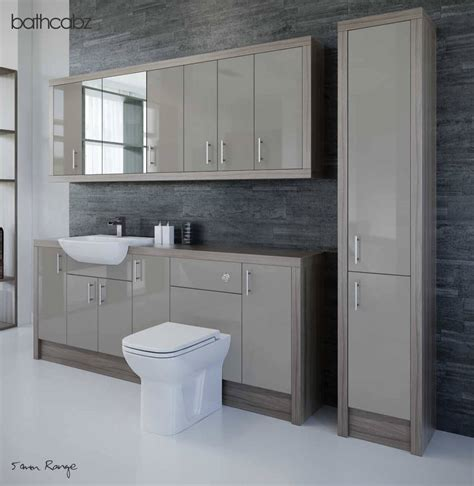 Latte Driftwood Bathroom Fitted Furniture 2100mm With Fitted Bathroom Furniture Units
