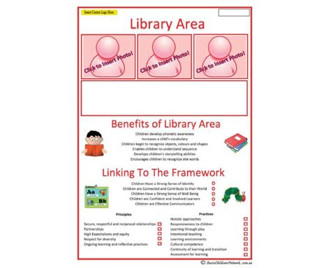 Interest Area Library Area Aussie Childcare Network Child Care Portfolio Templates