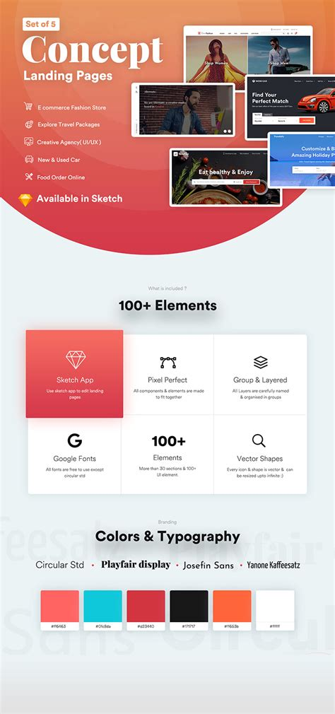 Multi Categories Web Design Template For Startups Sketch Template By Imvj Web Page Menu Templates