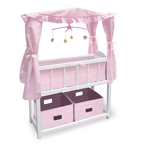 Badger Basket Canopy Doll Crib With Shelf Two Baskets Crib Canopy Bedding