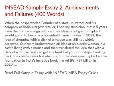 Insead Mba Essay Analysis by Insead Mba Essay 2 Tips Describe The Achievement Of Which