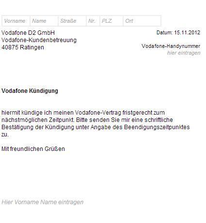 vodafone k 252 ndigungsschreiben vorlage muster k 252 ndigung