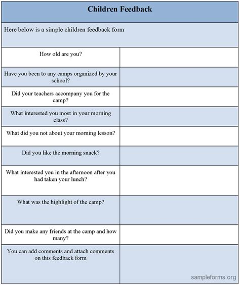 feedback form template children feedback form sle children feedback form