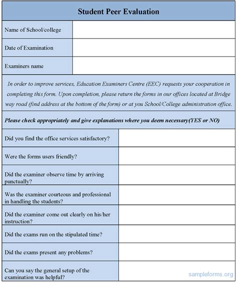 evaluation forms template student peer evaluation form sle student peer