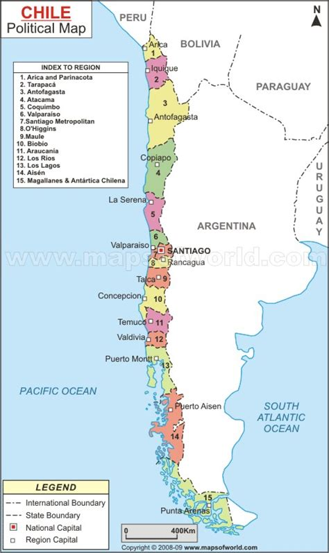 chile regions map map of chile chile