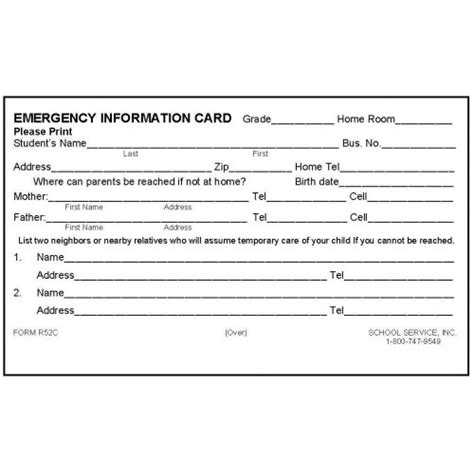 Student Advice Template Cards by R52c Rolodex Emergency Information Card Rolodex Cards