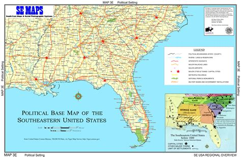 map of southeastern united states with cities se maps regional maps home