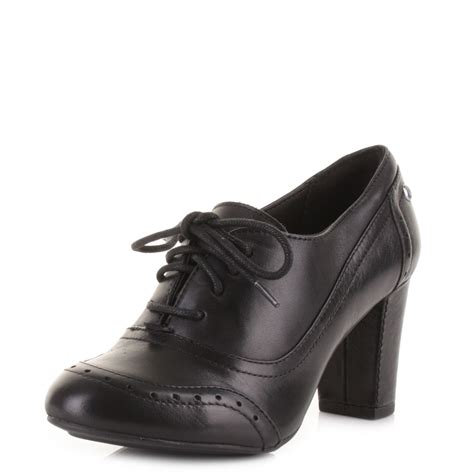 oxford shoes with heel womens hush puppies sisany oxford black leather brogue