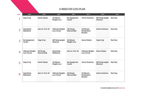 weight loss exercise plan 6 week workout program to burn shape magazine