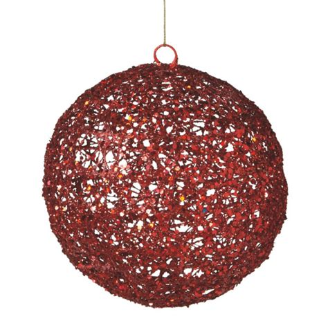 oversized red metal glitter ball christmas ornament