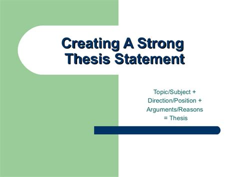 creating a thesis help creating a thesis statement 1 the writing center