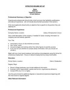 how to set up your resume sles of resumes
