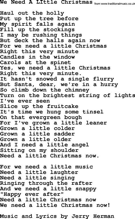 printable lyrics for we need a little christmas we need a little christmas by the byrds lyrics with pdf