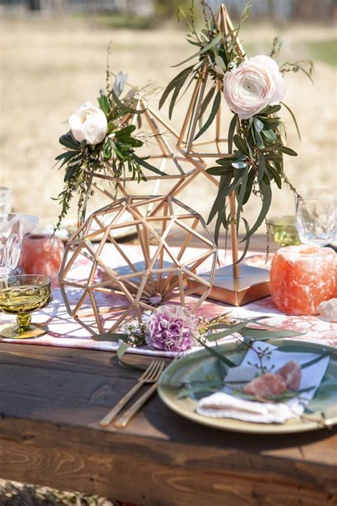 geodes, feathers, and an airstream   Creative Centerpieces