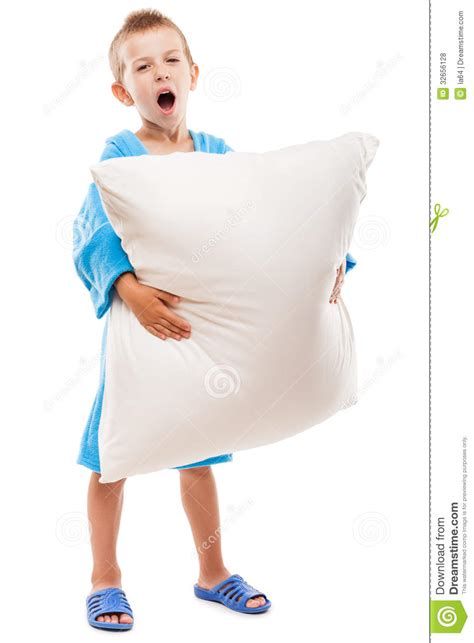 Holding Pillow While Sleeping by Yawning Child Boy Holding Pillow Going To Sleep Stock