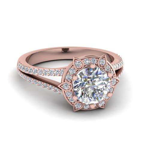flower design halo diamond engagement ring   rose