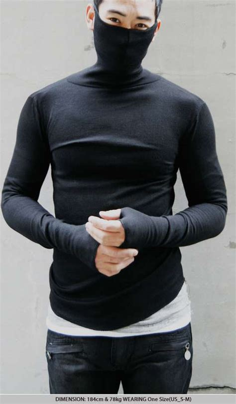 Dress Cardigan Shinobi obscuring sweaters turtle neck mask armwarmer