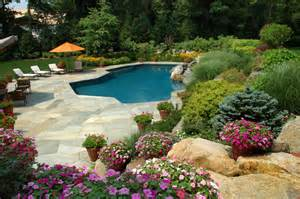 landscaping around a pool building ideas residential landscape design in houston