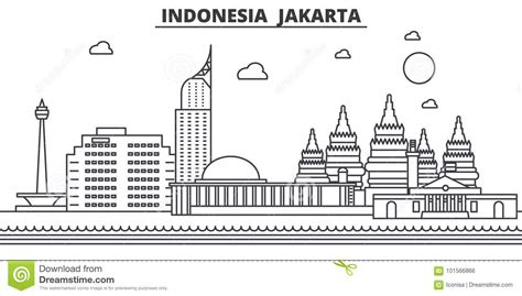 Pisau Royalty Line Di Indonesia indonesia jakarta architecture line skyline illustration linear vector cityscape with