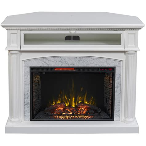 White Electric Fireplace Lowes by 54 In W 5 200 Btu White Painted Mdf Infrared Quartz