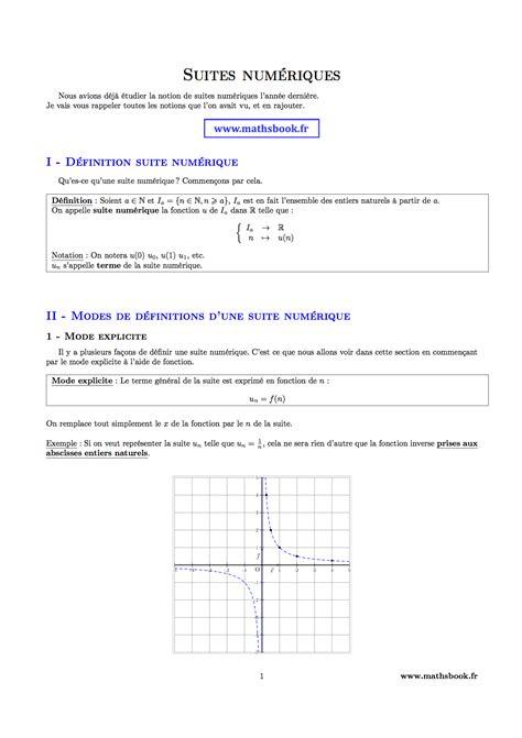 in suite definition suites num 233 riques cours pdf 224 imprimer maths terminale s