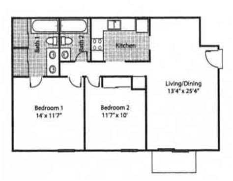 average size 2 bedroom apartment floor plans and rates rolling hills apartments