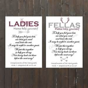 bathroom signs for wedding the hunt is themed wedding bathroom signs