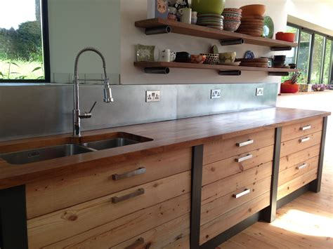 beautiful sandblasted pine iroko worktop and zinc