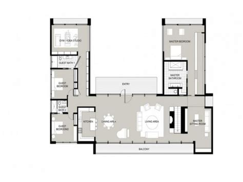 U Shaped House Plans | u shaped one story house u shaped house plans garden home