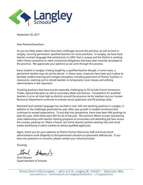 letter parents school start