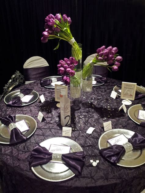 wedding table decorations purple and black inspiration for purple silver wedding reception by