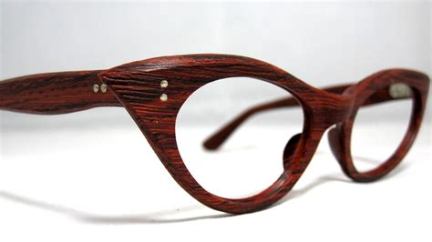vintage 60s cat eye eyeglasses faux bois wood look cat eye