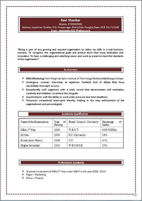 Cv Format Doc For Mba Freshers Professional Resume Excellent Resume Sle Of M Mba Marketing